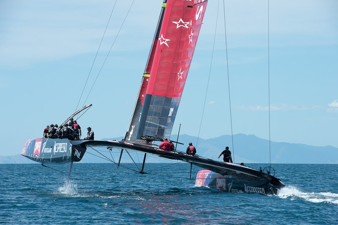 Emirates Team New Zealand's second AC72, NZL5 goes for it's first shake down sail.  © Chris Cameron/ETNZ http://www.chriscameron.co.nz