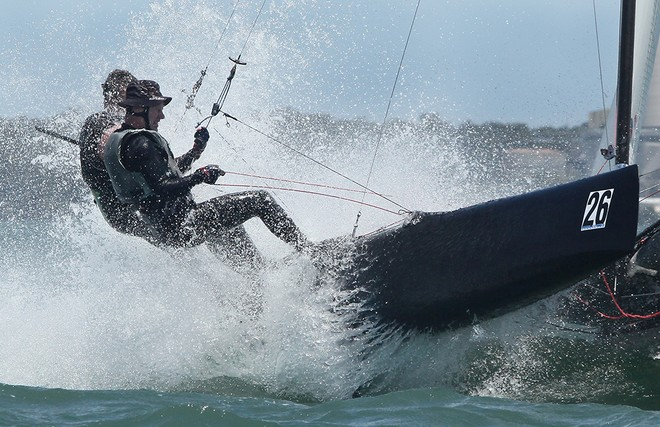 Sean Langman and Andrew Cheney blast through the chop - F18 Nationals  © Crosbie Lorimer http://www.crosbielorimer.com
