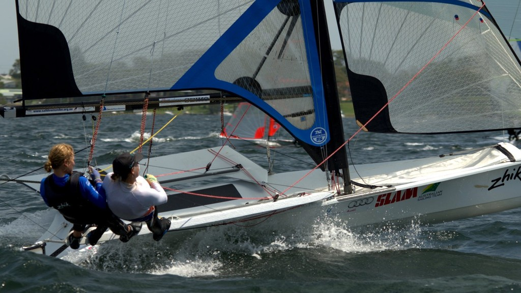 49erFX AUS 4 Haylee Outteridge & Michell Muller Leading Into Day 2 - Zhik NSW and ACT 9er State Championships © David Price