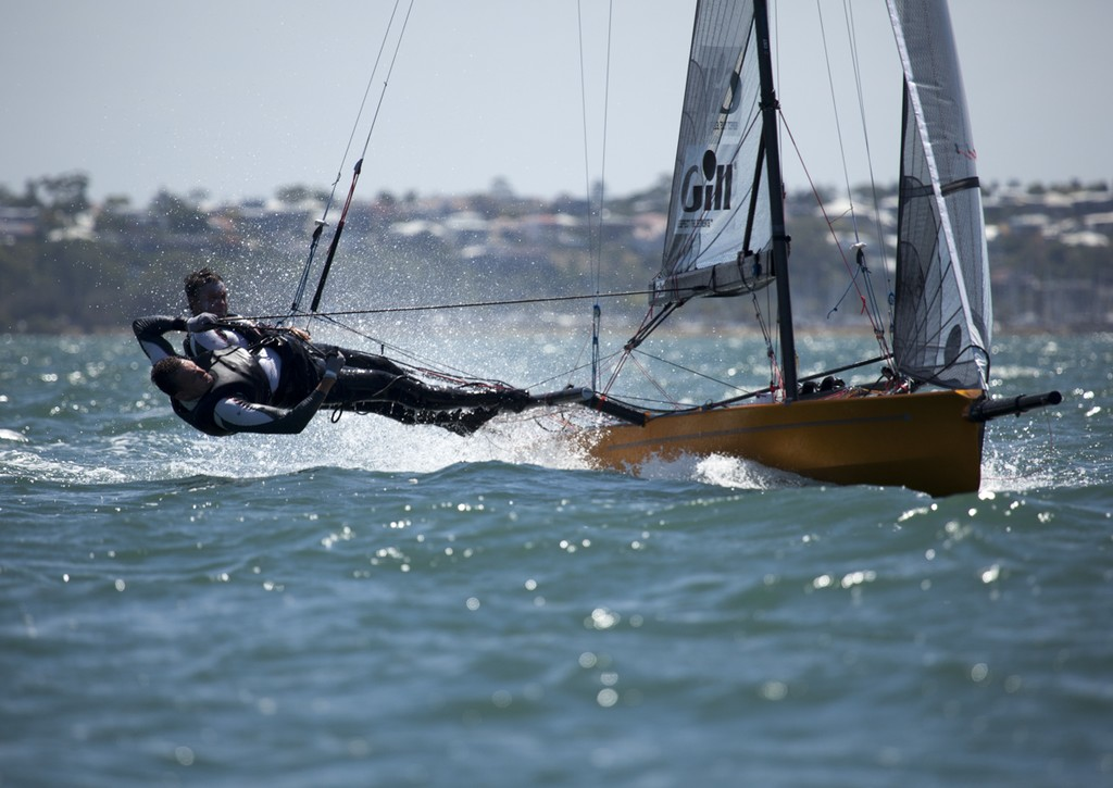 Devine and Furlong work it upwind  - International 14ft Skiff Australian Championships  © Andrew Gough