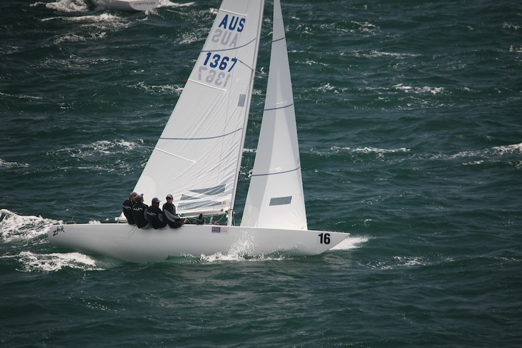 A forgettable day for Torvar Mirsky (Chilli Plum) with damage and a black flag disqualification. - Prochoice Safety Gear Etchells Nationals © Bernie Kaaks