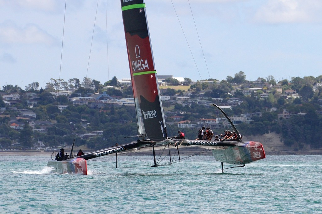 No foiling to windward in this shot - Emirates Team NZ - AC72 Aotearoa February 12, 2013 © Richard Gladwell www.photosport.co.nz