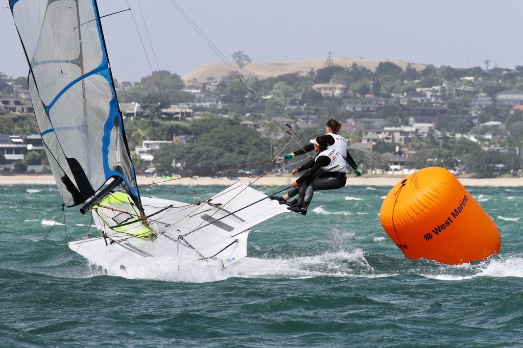 Womens 49er FX - Day 4, Oceanbridge Sail Auckland 2013 © Richard Gladwell www.photosport.co.nz