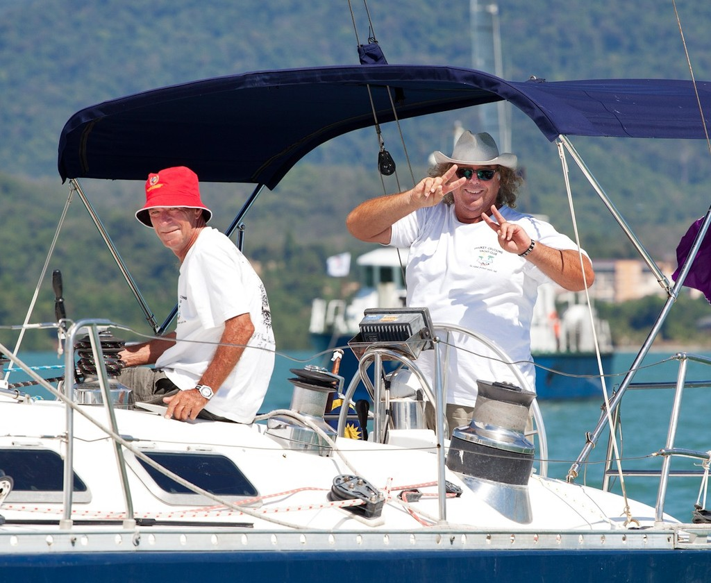 Royal Langkawi International Regatta 2013. Overdrive shows off some hand signals. © Guy Nowell http://www.guynowell.com