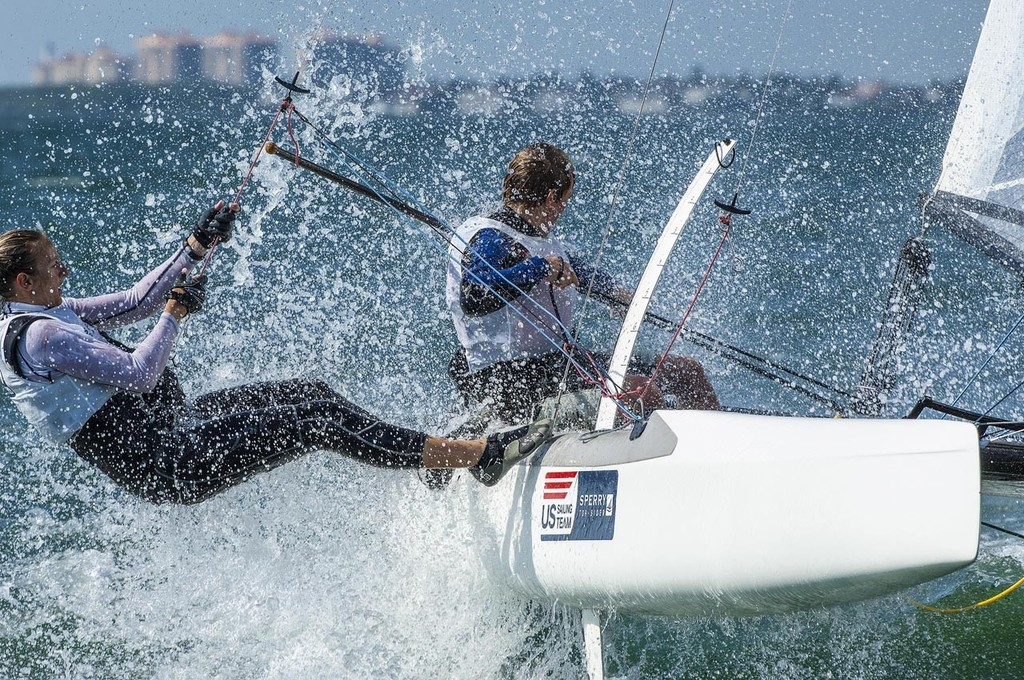 Division: Nacra 17 (7 boats)<br /> POS 2 as of 01/28/2013<br /> Sail# USA 38	<br /> STREATER, Sarah<br /> WHITEHEAD, Matthew	 - ISAF Sailing World Cup Miami 2013 &copy; Walter Cooper http://waltercooperphoto.com/