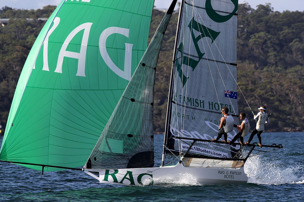 The Rag -  JJ Giltinan 18ft Skiff Championship 2013, Race 4 © Frank Quealey /Australian 18 Footers League http://www.18footers.com.au