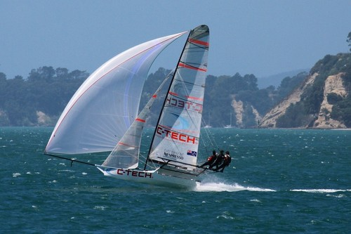 C-Tech pictured in the NZ 18ft Skiff Nationals, took the Invitation race, today © Richard Gladwell www.photosport.co.nz