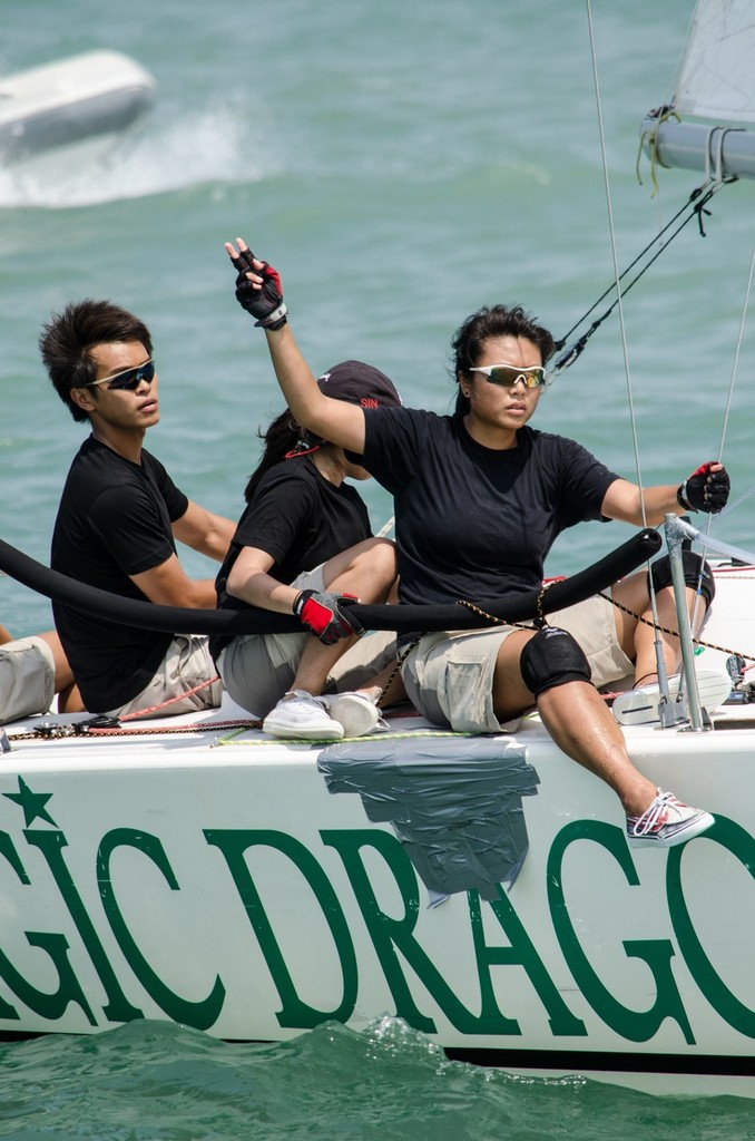 Team Singapore II; Team of 5 - Bow woman in charge right now - Matchrace Thailand Open Nationals, First day © Alex Samaras