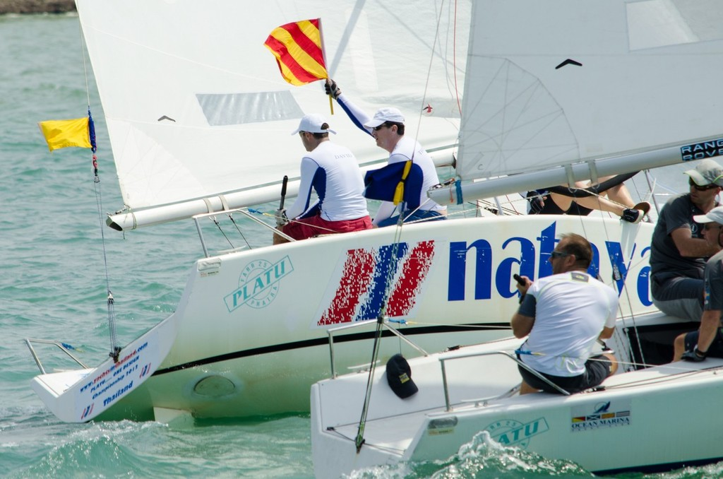 Team France showing fighting spirit in their battle against worlds #2 Bjorn Hansen - Matchrace Thailand Open Nationals, First day © Alex Samaras