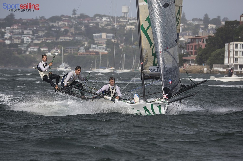 RAG & FAMISH HOTEL had to finish within 1st 3 placings of today's race and ahead of Gotta Luv it 7 to win Championships - 18ft Skiff JJ Giltinan Championships2013 - Race 7 © Beth Morley - Sport Sailing Photography http://www.sportsailingphotography.com