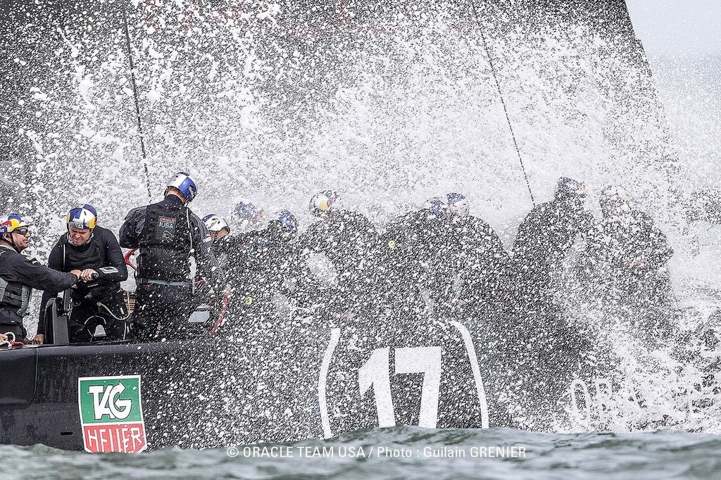 Wet, wet, wet aboard Oracle's USA-17 training in San Francisco © Guilain Grenier Oracle Team USA http://www.oracleteamusamedia.com/