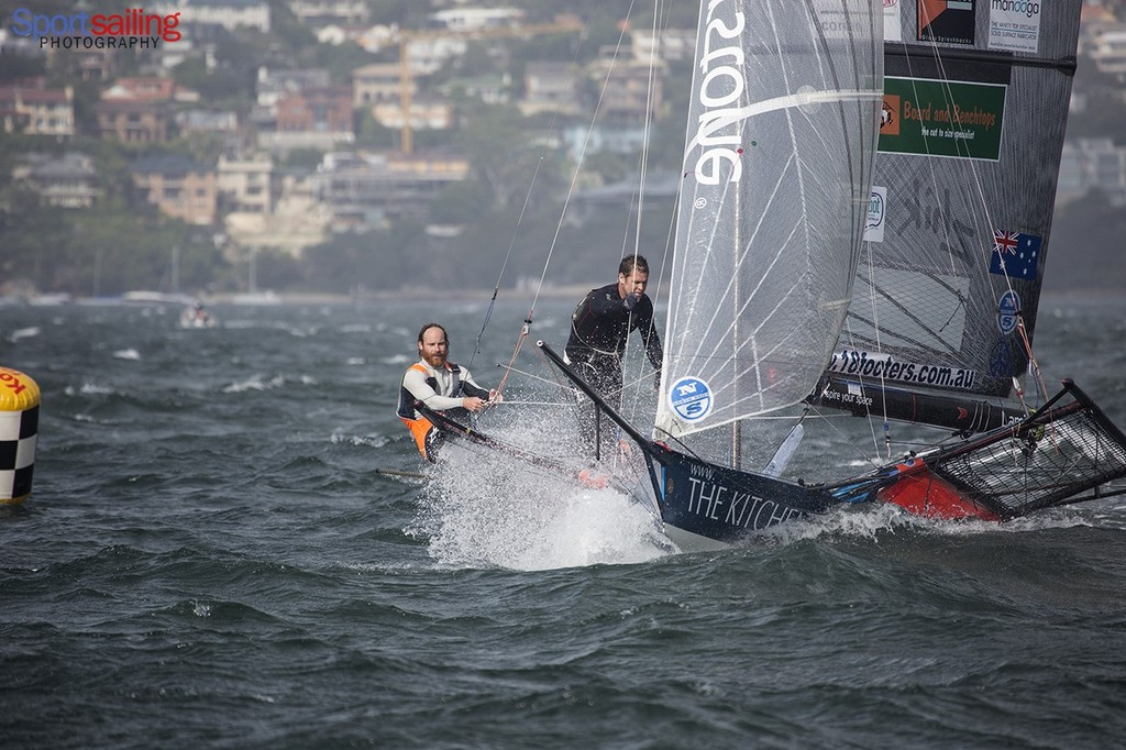 The Kitchen Maker finished 7th in the final Heat of the JJ Giltinan 2013  - 18ft Skiff JJ Giltinan Championships2013 - Race 7 © Beth Morley - Sport Sailing Photography http://www.sportsailingphotography.com