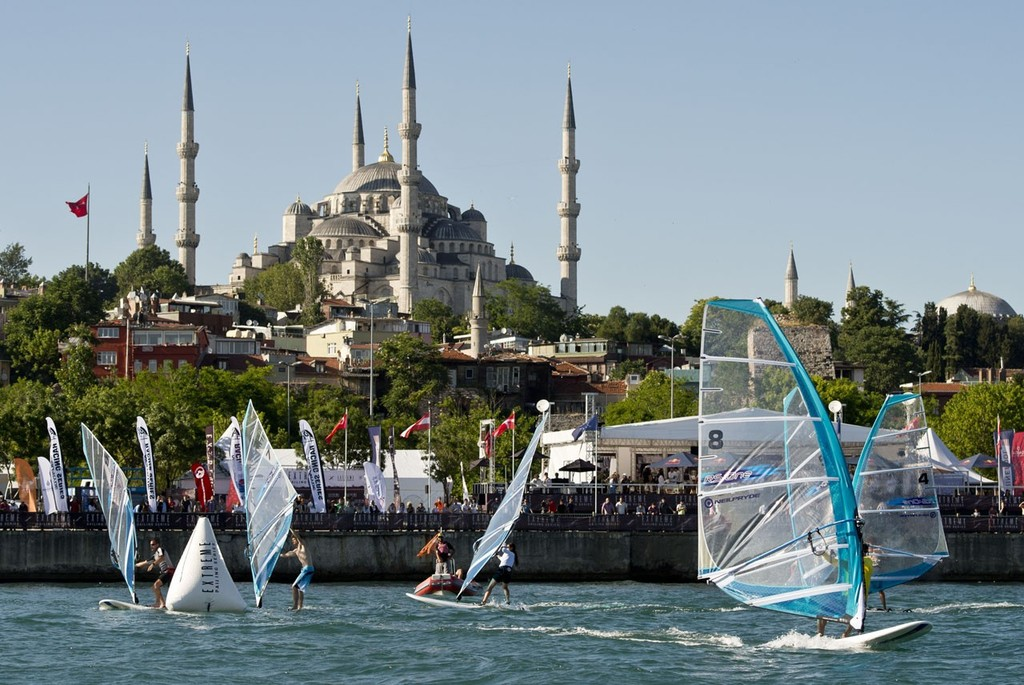 NeilPryde Racing Series racing at the Extreme Sailing Series Act 3 in Istanbul 2012. ©  Vincent Curutchet / Dark Frame http://www.extremesailingseries.com/