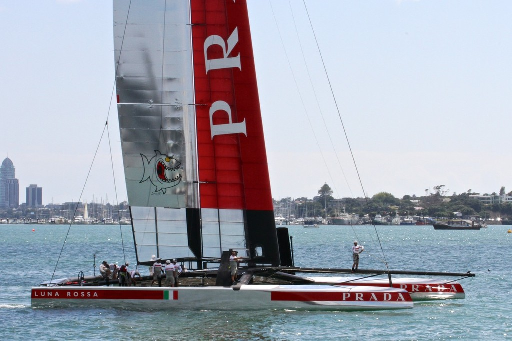 Luna Rossa leaves for a training session - 26 February 2013 © Richard Gladwell www.photosport.co.nz