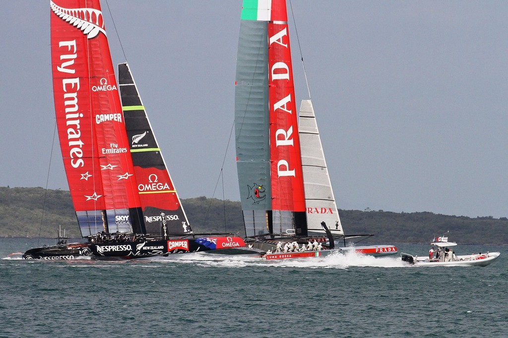 Emirates Team NZ starts angling for the windward position at the start - AC72 Race Practice - Takapuna March 8, 2013 © Richard Gladwell www.photosport.co.nz