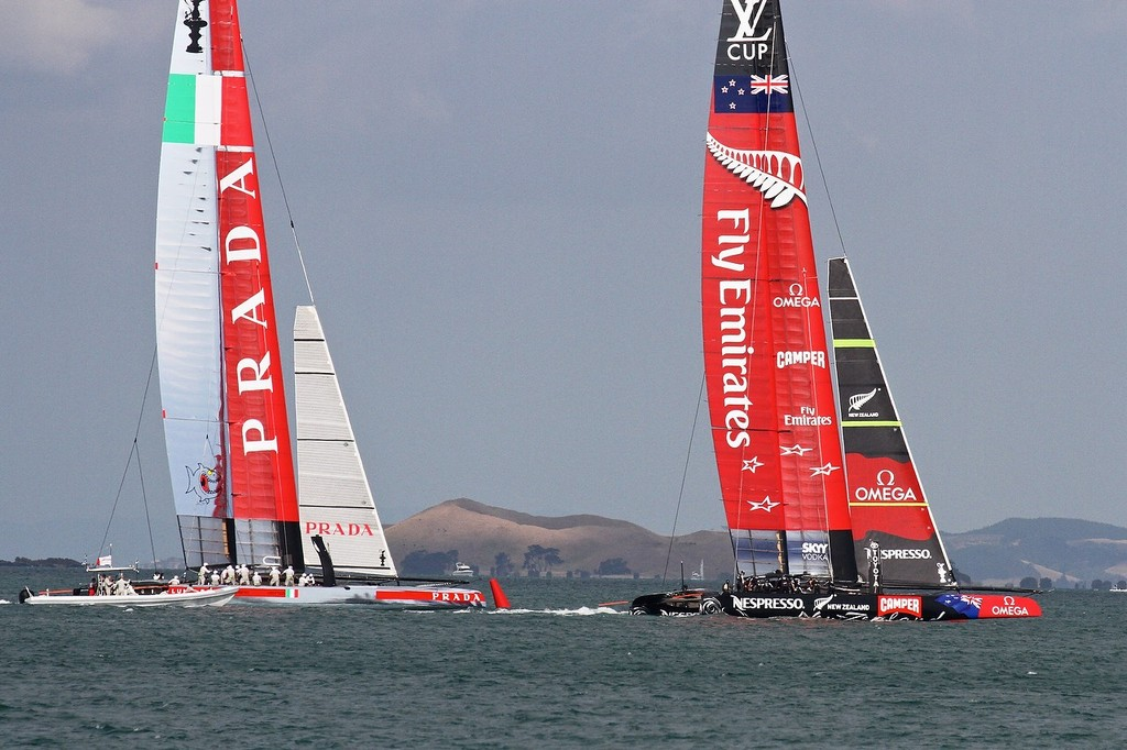 Emirates Team NZ protects the windward position and is the give way boat on Luna Rossa to leeward- AC72 Race Practice - Takapuna March 8, 2013 © Richard Gladwell www.photosport.co.nz