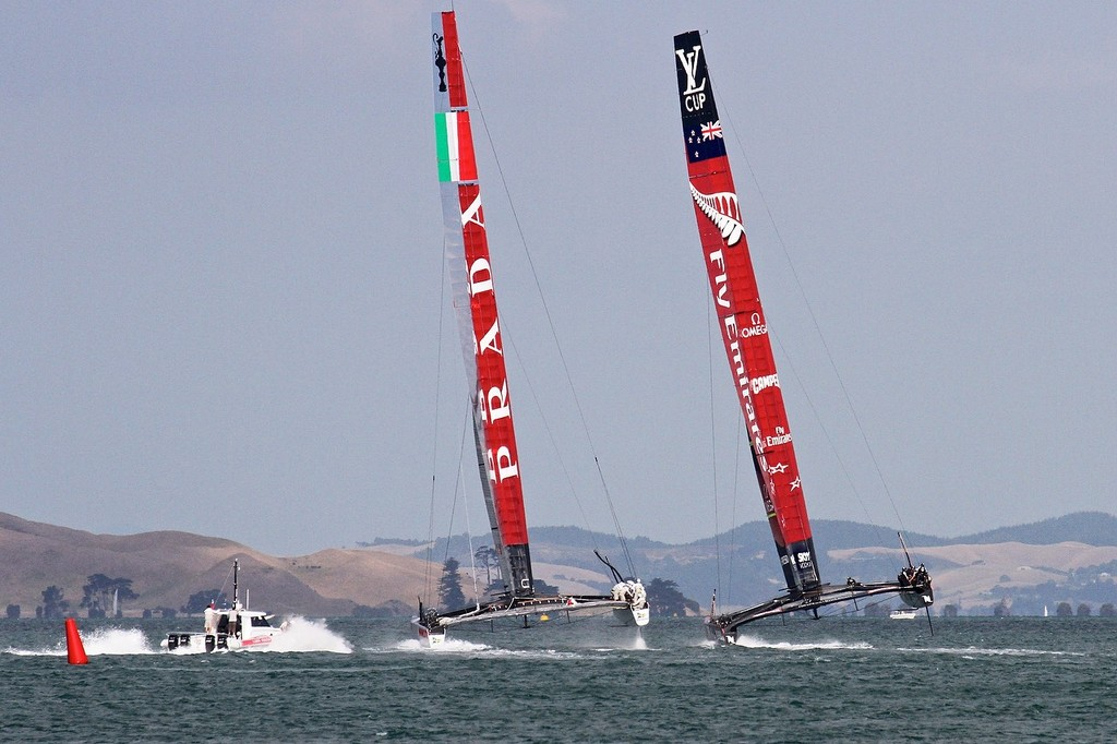 Emierates Team NZ appear to have broken through to windward of the Italian Luna Rossa - AC72 Race Practice - Takapuna March 8, 2013 © Richard Gladwell www.photosport.co.nz