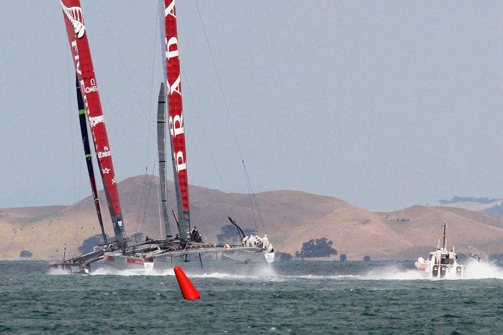 Flying on the reach heading for the turning mark - AC72 Race Practice - Takapuna March 8, 2013 © Richard Gladwell www.photosport.co.nz