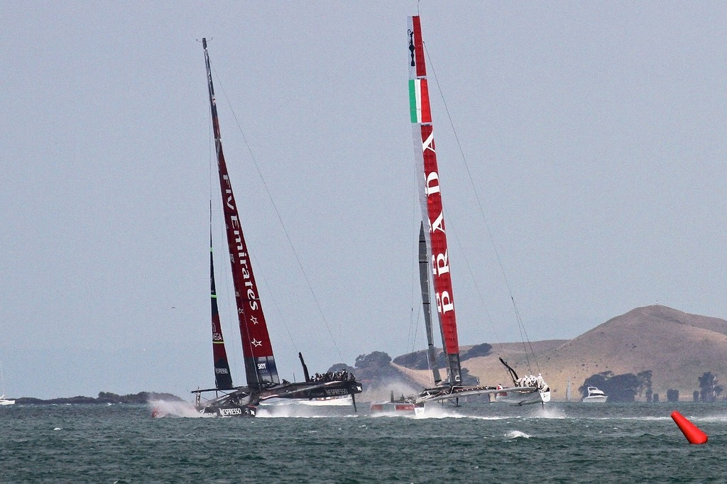 Emirates Team NZ starts to bear away heading for the turning mark - AC72 Race Practice - Takapuna March 8, 2013 © Richard Gladwell www.photosport.co.nz