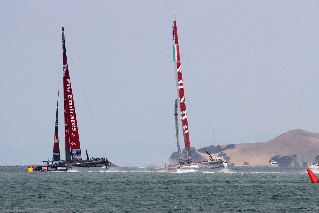 Emirates Team NZ reaches the turning mark first - AC72 Race Practice - Takapuna March 8, 2013 © Richard Gladwell www.photosport.co.nz
