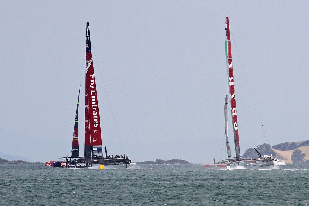 Emirates Team NZ foiling after reaching the turning mark - AC72 Race Practice - Takapuna March 8, 2013 © Richard Gladwell www.photosport.co.nz