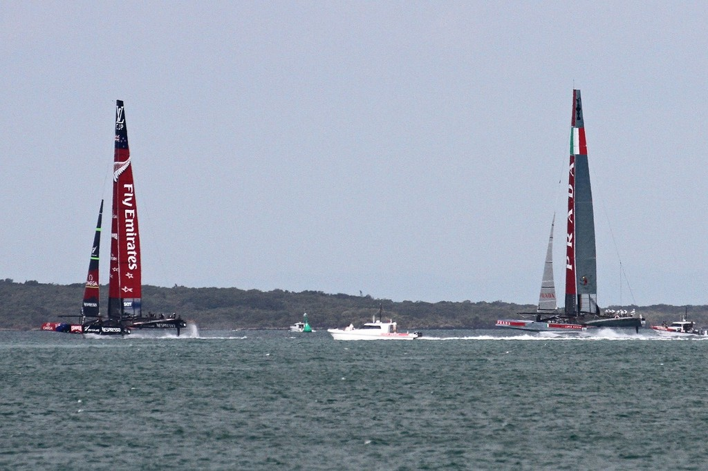 Both boats now foiling on the run, but no gennakers set - AC72 Race Practice - Takapuna March 8, 2013 © Richard Gladwell www.photosport.co.nz