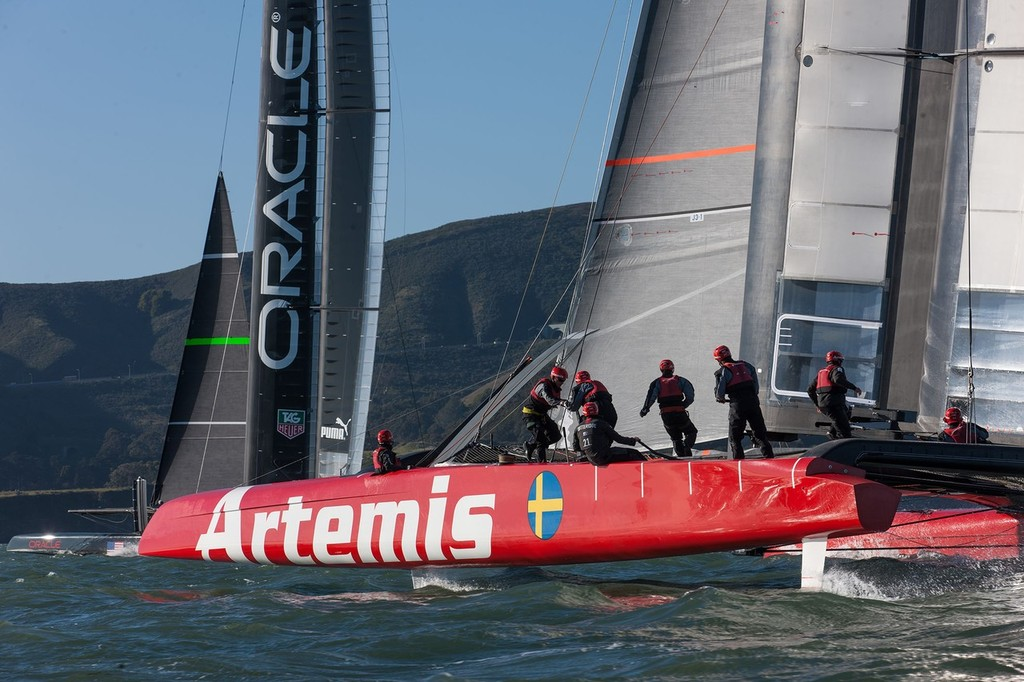 Artemis and Oracle Team USA  AC72 training in San Francisco Bay © Artemis Racing http://www.artemisracing.com