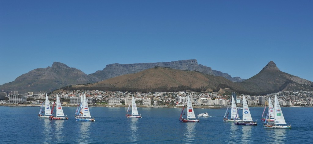 Parade of Sail in Cape Town, South Africa, beneath Table Mountain © onEdition http://www.onEdition.com