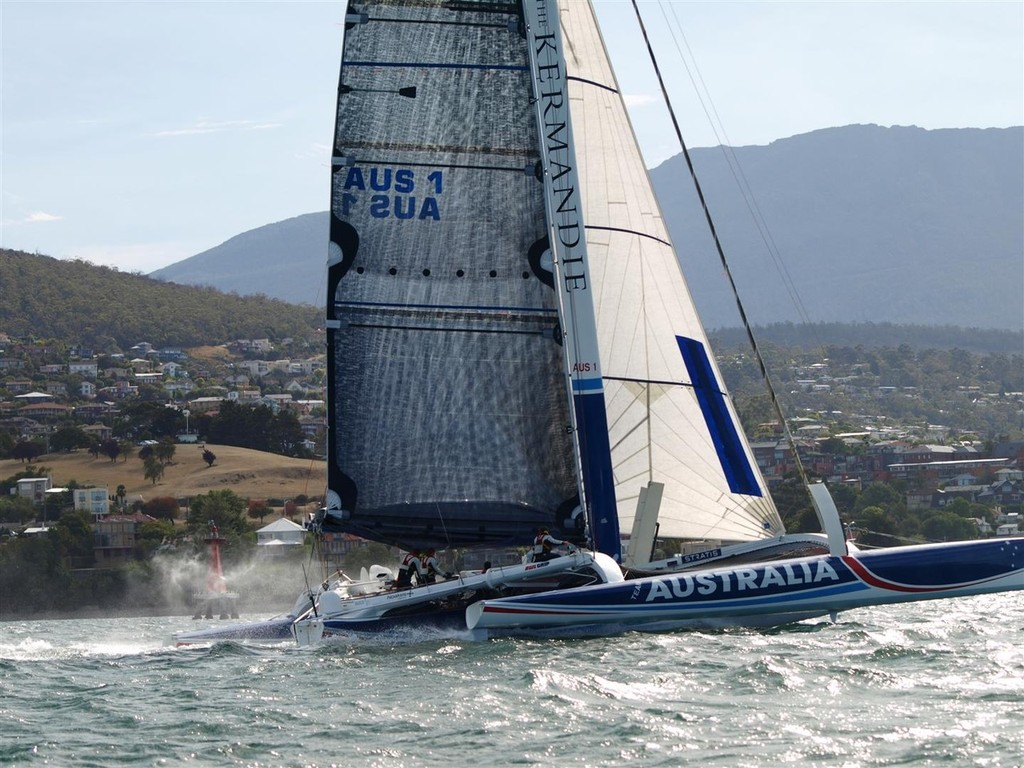 Team Australia on  way to the finish - New Sydney Hobart passage record holder Team Australia - blasts home © Jane Austin