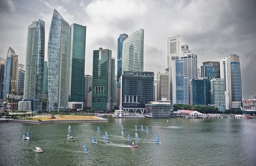 An ariel view of the NeilPryde Racing Series competing in Singapore during Act 9 of the Extreme Sailing Series 2011 © NeilPryde, Alex Zenovic