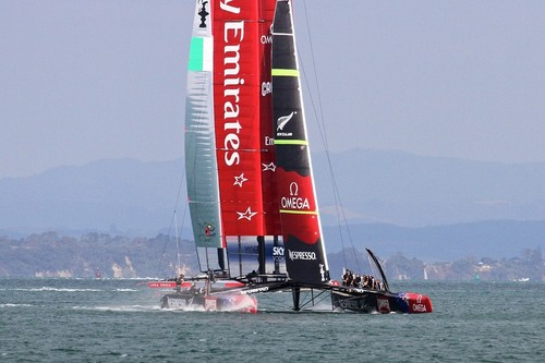 Emirates Team NZ accelerates to get away from Luna Rossa in the prestart  - AC72 Race Practice - Takapuna March 8, 2013 © Richard Gladwell www.photosport.co.nz