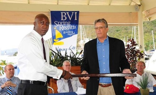 Hon. Myron Walwyn, Minister for Education & Culture presents Intrepid&rsquo;s tiller to Professor Geoff Brooks,<br /> curator of the Virgin Islands Maritime Museum &copy;  Todd Van Sickle