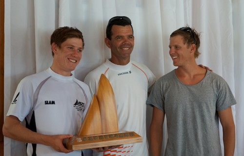 Torben Grael attended the prizegiving and presents the winning trophy to Paul Snow-Hansen and Dan Willcox. - NZ 470 Nationals © Christine Hansen