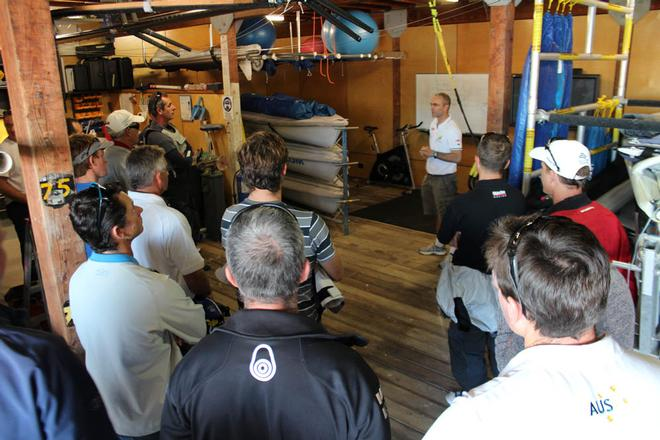 Michael Blackburn briefing coaches ahead of an on-water session © Craig Heydon