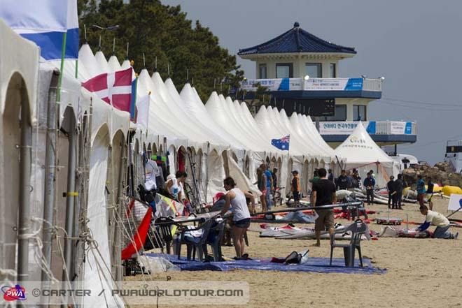 Action stations here in Korea - 2013 Ulsan PWA World Cup ©  John Carter / PWA http://www.pwaworldtour.com
