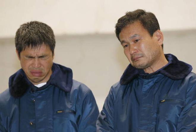Photo from Japan Times: The faces say it all.  Mitsuhiro Iwamoto (left), 46, and newscaster Jiro Shinbo, 57, attend a news conference after they were rescued Friday by the Maritime Self-Defense Force in the Pacific Ocean. Iwamoto, a veteran sailor who is visually impaired, and Shinbo left Onahama port in Iwaki, Fukushima Prefecture, on Sunday bound for San Diego, California, but ran into stormy weather. | KYODO ©  SW