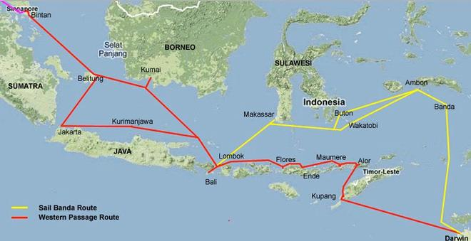 Indonesian cruising routes - and there are so many tiny islands ©  SW