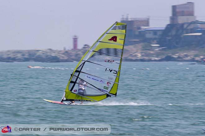 Josh Angulo on his new Gun Sails - 2013 Ulsan PWA World Cup ©  John Carter / PWA http://www.pwaworldtour.com