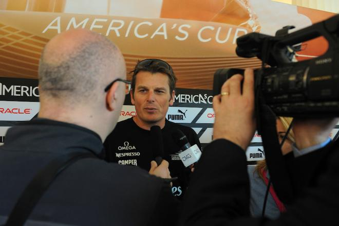 Skipper of the Emirates Team New Zealand, Dean Barker, is interviewed by media  - America's Cup WS, Naples Media Conference April 16, 2013 ©  SW