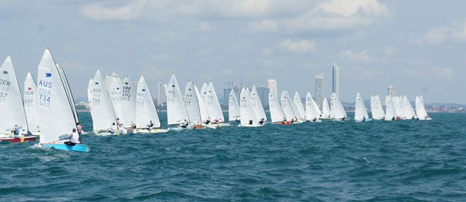 Start, race 4 - OK Dinghy Worlds 2013 © Cat Robson http://www.seahazephotography.co.uk/