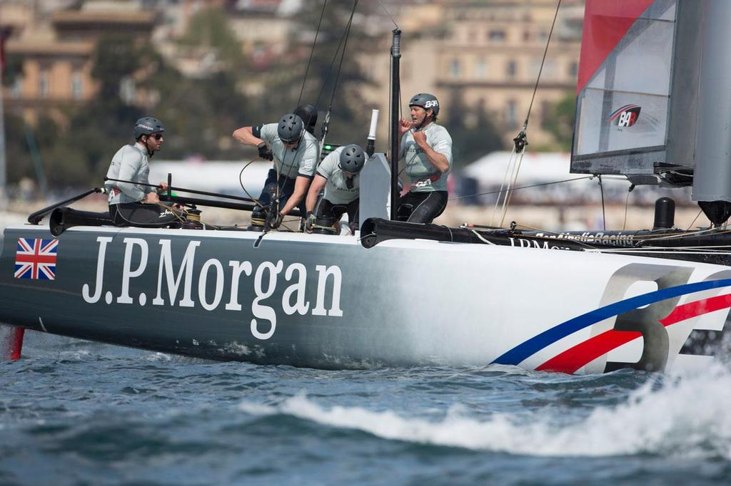 America's Cup World Series Naples / ACWS Naples. Italy. The J.P.Morgan BAR AC45 skippered by Ben Ainslie - one of the three boats under investigation © Lloyd Images/J.P.Morgan BAR http://bar.americascup.com/