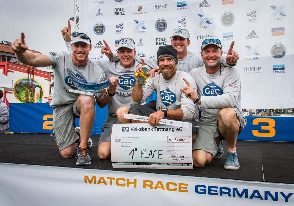 Willams and crew on the podium at Match Race Germany 2013 © Brian Carlin