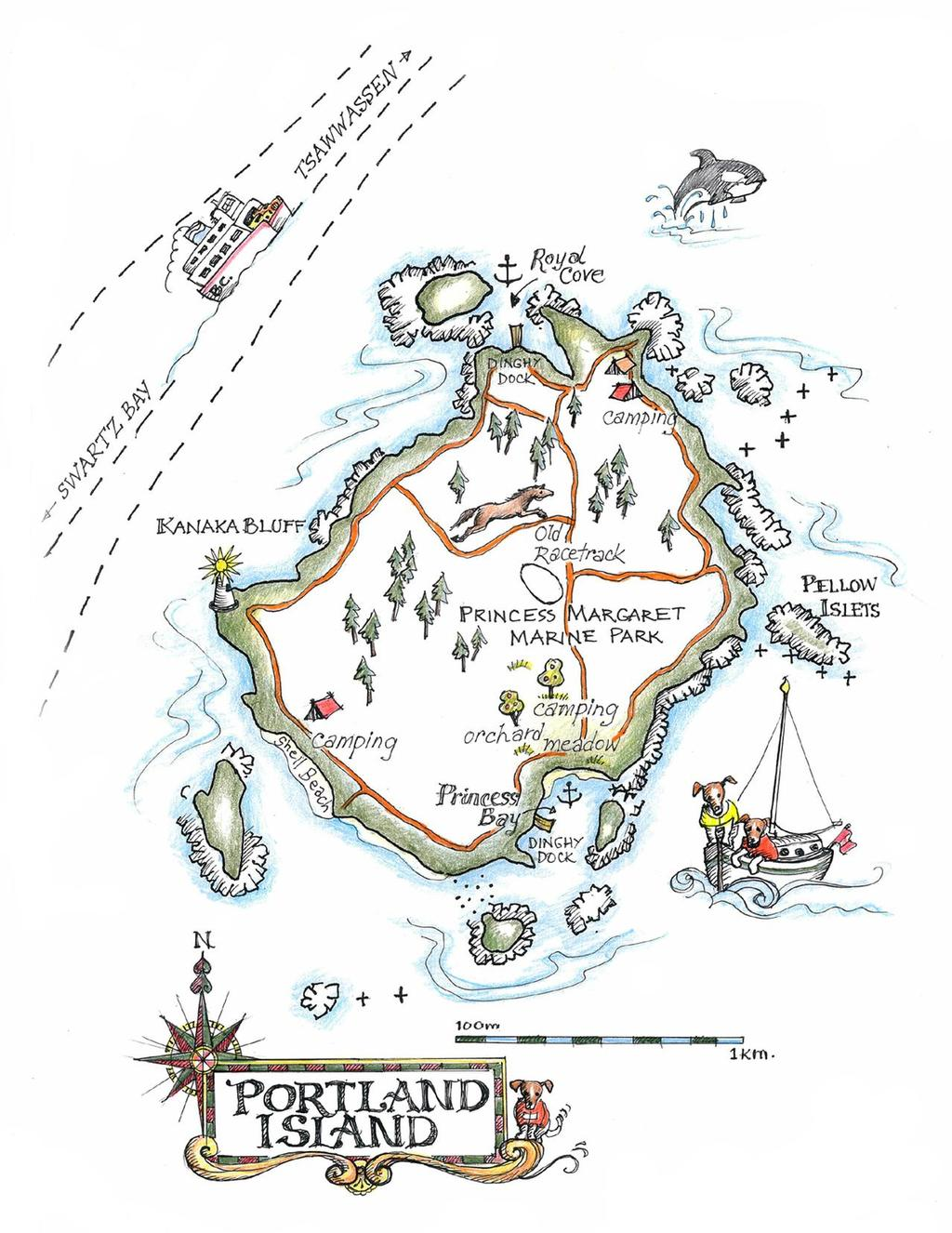 Another of the maps - this one of Portland Island - one of our favourite spots on the coast © Amanda Spottiswoode