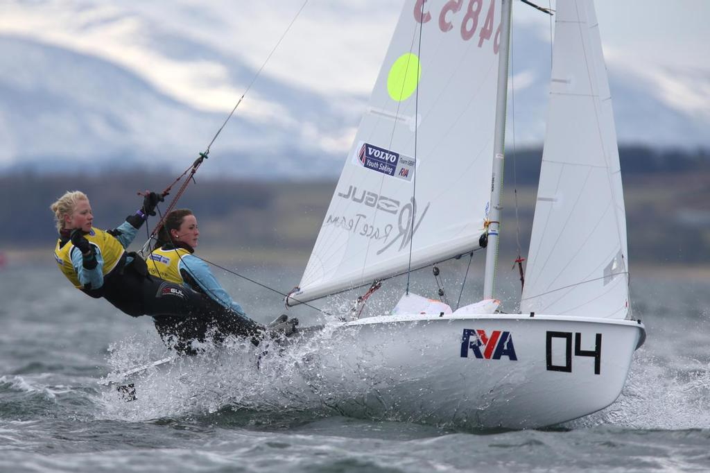 420, 54853, Annabel Cattermole, Bryony Bennett-Llyod, Welwyn Garden City SC<br /> Day 4, RYA Youth National Championships 2013 held at Largs Sailing Club, Scotland from the 31st March - 5 April. <br />  &copy;  Marc Turner /RYA http://marcturner.photoshelter.com/