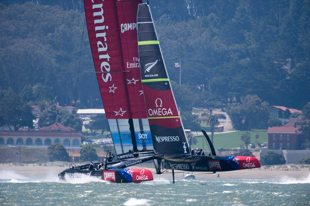 Emirates Team New Zealand practice session with AC72, NZL5 on San Francisco Bay. 28/6/2013 © Chris Cameron/ETNZ http://www.chriscameron.co.nz
