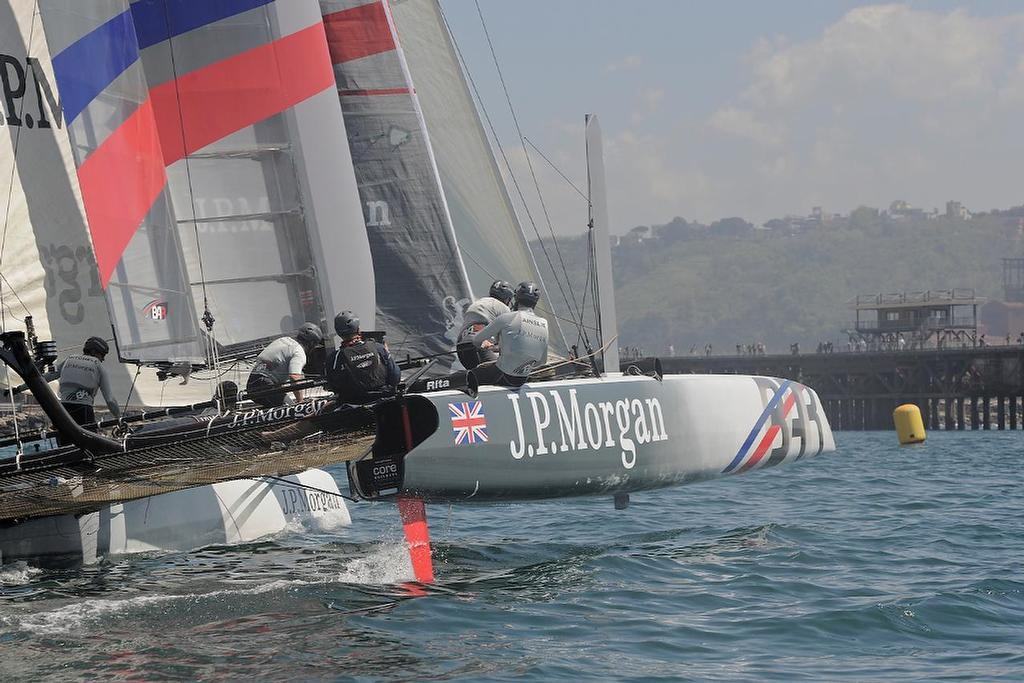 JP Morgan BAR - 'Navigation has never been my strong point,' said Ben Ainslie when questioned on missing a mark in the coastal race - America's Cup World Series - Naples Coastal Race April 14, 2013 ©  SW