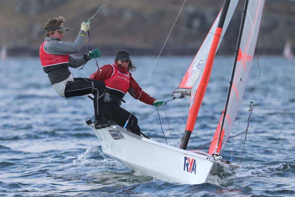 29er,8, Mimi EL-Khazindar, Ben Batten, Royal Lymington Yacht Club<br /> Day 4, RYA Youth National Championships 2013 held at Largs Sailing Club, Scotland from the 31st March - 5 April. <br />  &copy;  Marc Turner /RYA http://marcturner.photoshelter.com/
