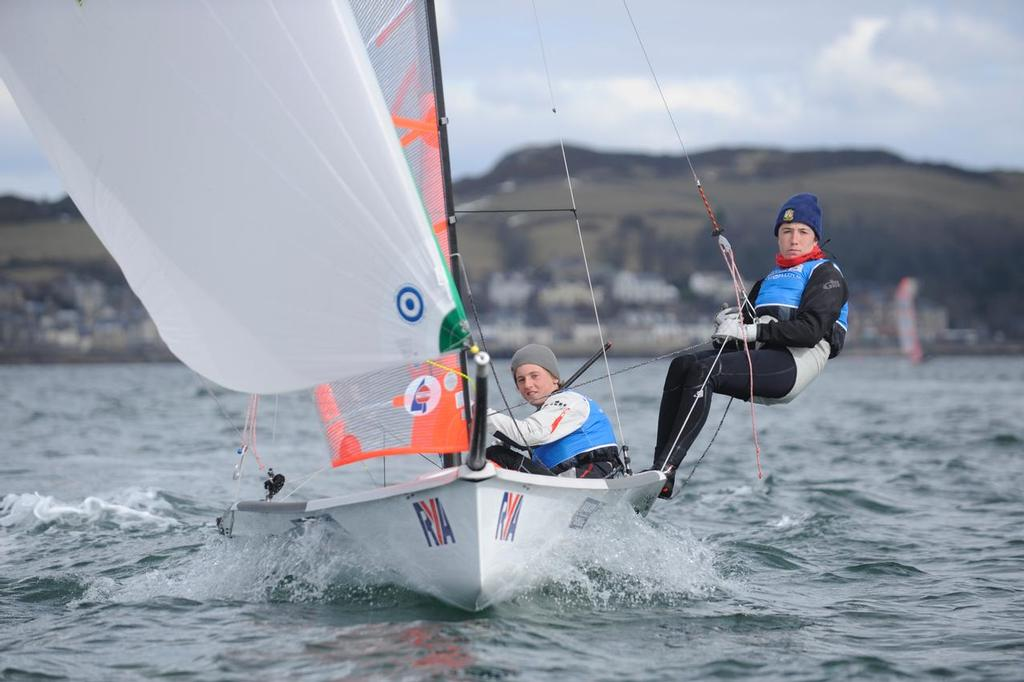 29er, 21, Owen Bowerman, Morgan Peach, Hisc<br /> Day 4, RYA Youth National Championships 2013 held at Largs Sailing Club, Scotland from the 31st March - 5 April. <br />  &copy;  Marc Turner /RYA http://marcturner.photoshelter.com/