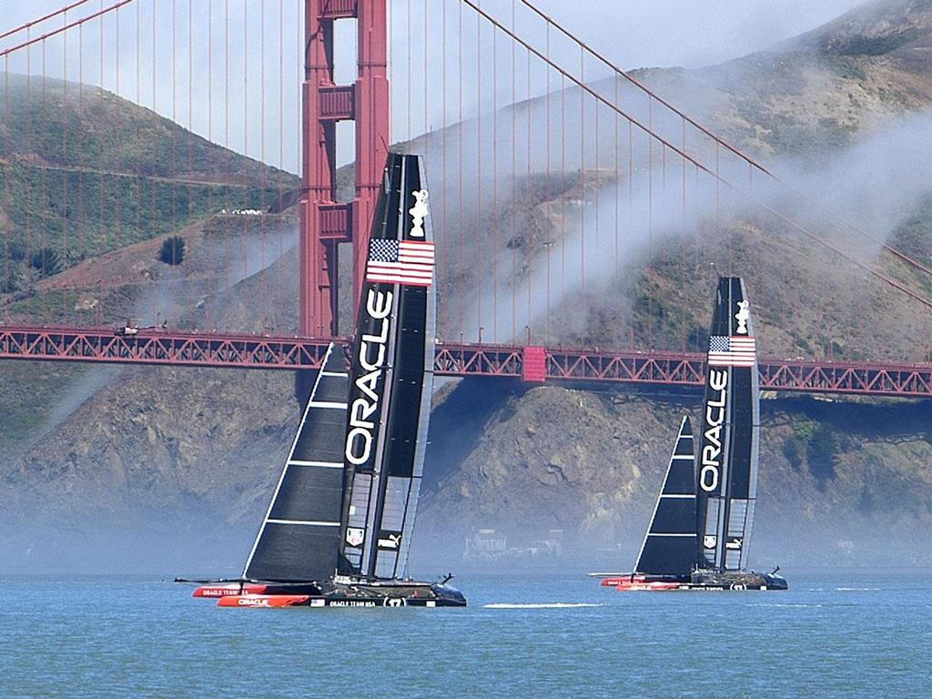 Oracle Team USA's two boats  sailing in San Francisco Bay for the first time. © John Navas