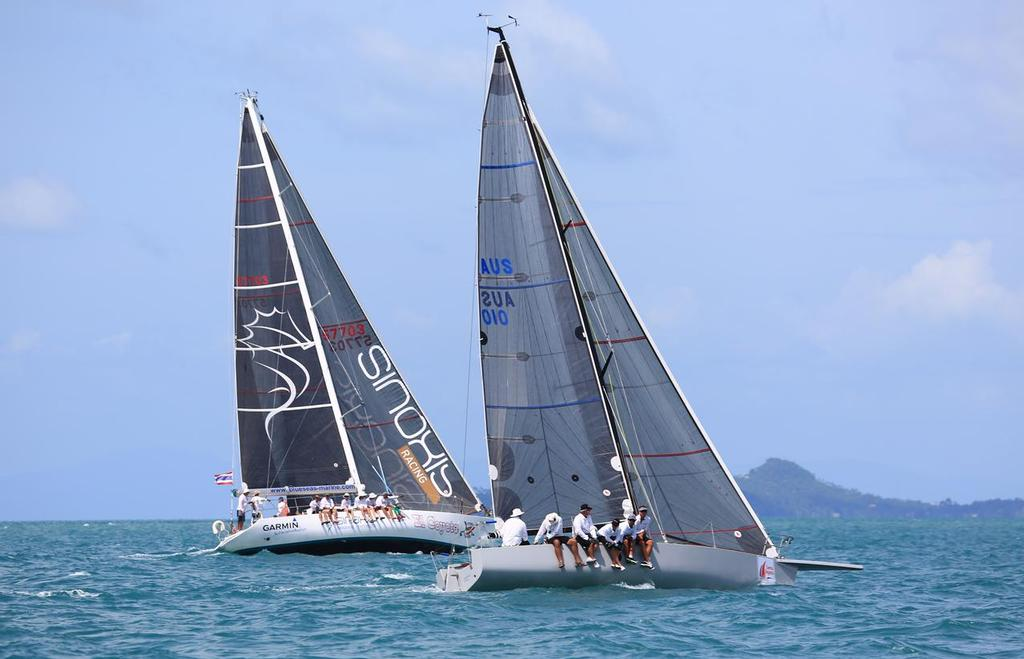 Ichi Ban (foreground) and El Coyote battling it out in IRC Two.  - Samui Regatta 2013 © Samuipics.com